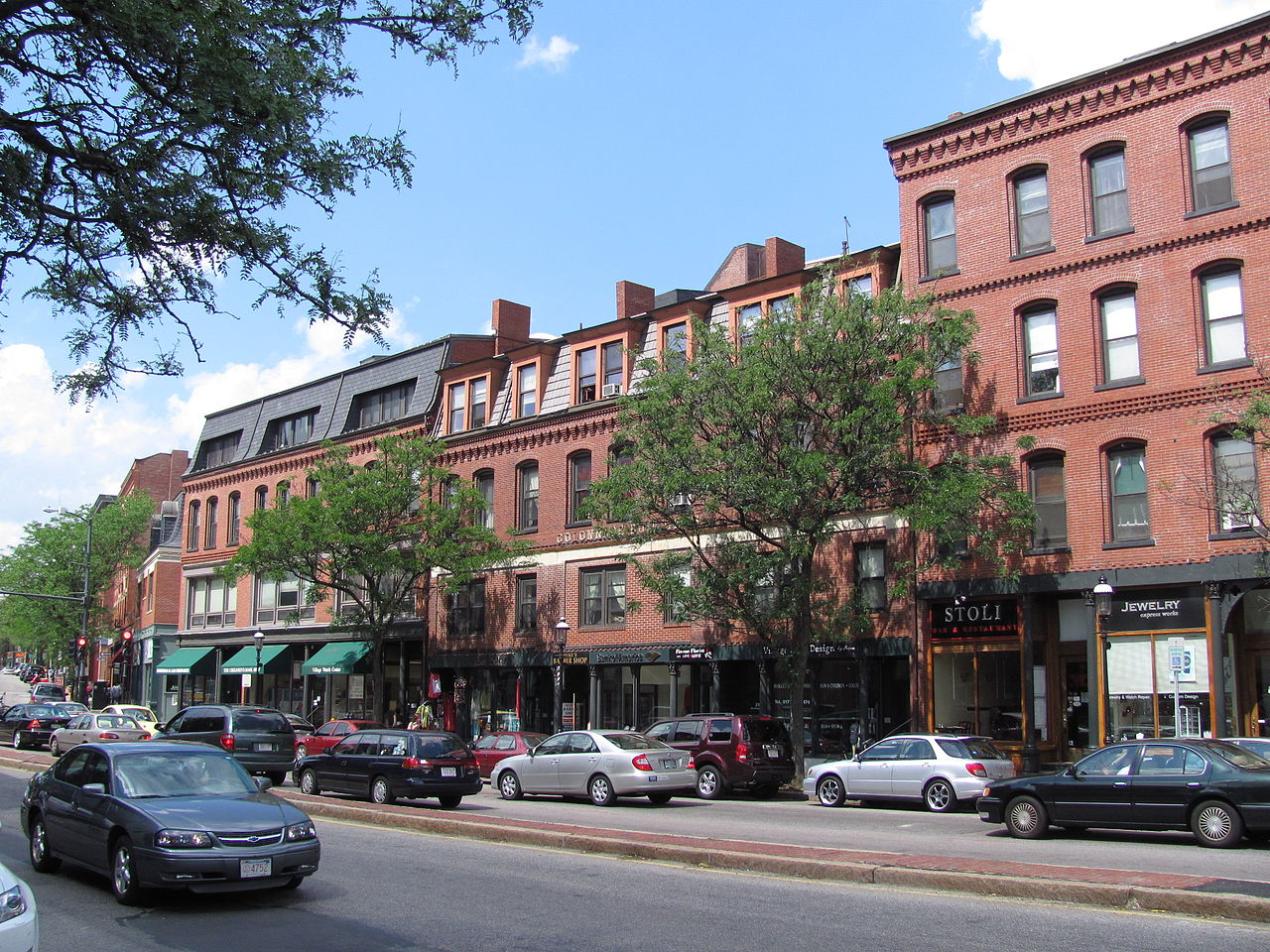 Brookline Village Captures The Quaint Small Town Feel In Mix Of Busy City Streets Traditional S And Restaurants Line Either Side